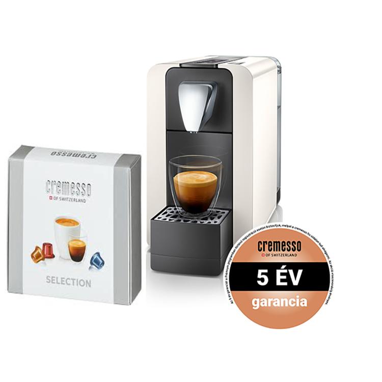 Cremesso Compact One II kapszulás kávéfőző ajándék Selection box kapszula-válogatással Fehér