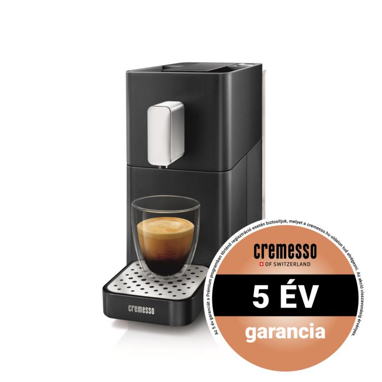 Cremesso Easy kapszulás kávéfőző Fekete ajándék tejhabosítóval