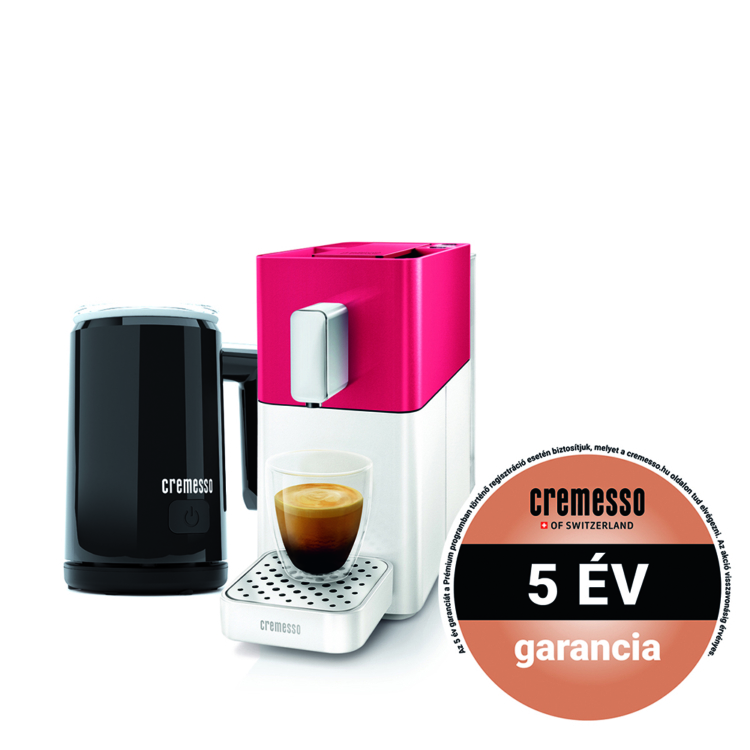 Cremesso Easy kapszulás kávéfőző Piros Fehér ajándék tejhabosítóval