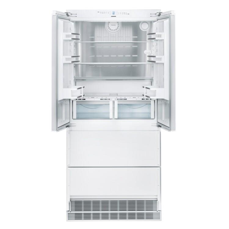 kinyitott ajtajú Liebherr ECBN 6256 PremiumPlus beépíthető fehér kombinált hűtőszekrény