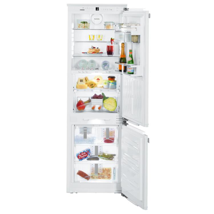 alul felül kinyított Liebherr ICBN 3386 Premium beépíthető feher kombinált hűtőszekrény