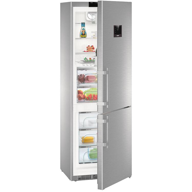 Liebherr CBNes 5778 Premium kombinált inox hűtőszekrény teli, nyitott